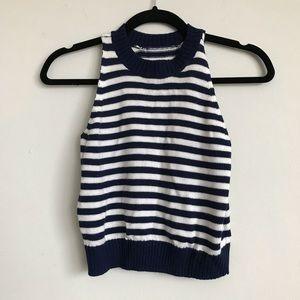 Vintage S Blue White Striped Crop Knit Top